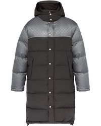 Gucci Logo-jacquard Down-filled Coat - Grey