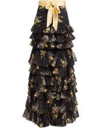 Rodarte Floral Print Ruffled Silk Blend Skirt - Black