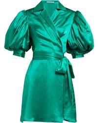 Alessandra Rich Puff Sleeve Silk Charmeuse Wrap Mini Dress - Green