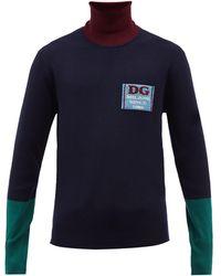 Dolce & Gabbana タートルネック カラーブロック ウールセーター - ブルー