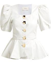 Rodarte Square Neck Puffed Sleeve Leather Blouse - White