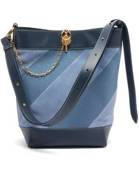 JW Anderson Keyts Striped Leather & Suede Tote - Blue