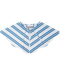 Ganni Striped Cotton Collar - Blue