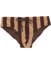 Fendi Pequin-striped Swim Briefs - Brown