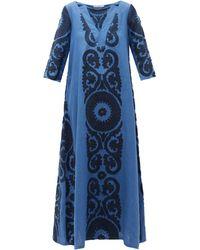 Marta Ferri Robe en lin mélangé à broderies florales - Bleu