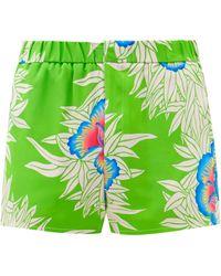 Edward Crutchley Magnolia-print Silk-satin Shorts - Green