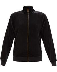 Versace ジップアップ ベルベットジャケット - ブラック