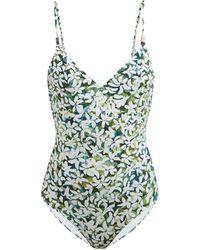 Marios Schwab Asteria Floral-print Scoop-back Swimsuit - Green