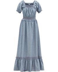 Loretta Caponi Robe longue en chambray de coton froncé Stefania - Bleu