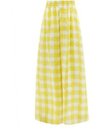Marta Ferri Gingham Linen Wide-leg Trousers - Yellow
