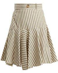 Loewe High-rise Striped Fluted-hem Skirt - Grey