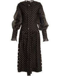 Loewe - Robe en coton et soie à smocks et pois - Lyst