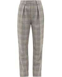 Ganni Prince Of Wales-check Tailored Pants - Gray