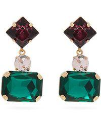 Erdem Multi Stone Drop Clip Earrings - Green