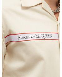 Alexander McQueen キューバンカラー ロゴテープ コットンツイルシャツ - ナチュラル