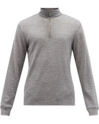 Orlebar Brown Neilson Zip-neck Merino Wool-blend Sweater - Gray