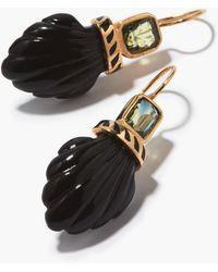 Dezso by Sara Beltran Deco Sapphire, Onyx & 18kt Rose-gold Earrings - Black