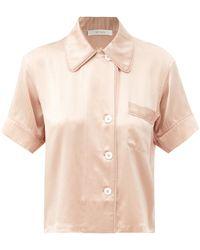 Araks Shelby Short-sleeve Silk-charmeuse Pajama Shirt - Natural