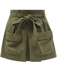 RED Valentino Paperbag-waist Cotton-blend Cargo Shorts - Green