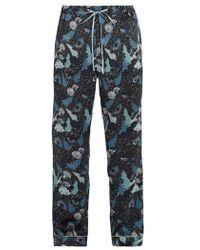 Meng Decorative Floral-print Silk-satin Pajama Pants - Blue