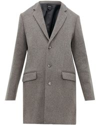 A.P.C. Single Breasted Wool Blend Overcoat - Gray