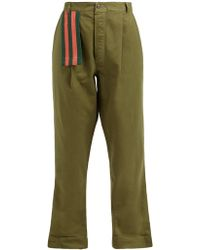 MYAR Itp00 Cotton Twill Relaxed Leg Pants - Green