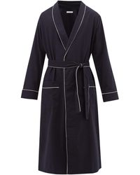 Desmond & Dempsey Piped Brushed Cotton-twill Robe - Blue