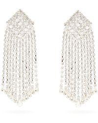 Alessandra Rich Crystal-cascade Square Clip Earrings - Multicolour