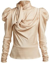 3d923697721306 Zimmermann - Fleeting Tie Neck Silk Blend Blouse - Lyst