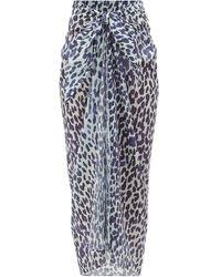 Marios Schwab Leopard-print Cotton-voile Sarong - Blue