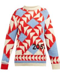 CALVIN KLEIN 205W39NYC Chunky Knit Intarsia Wool Blend Sweater - Red