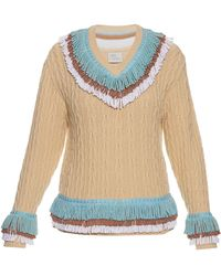 Hillier Bartley - Fringed Cashmere And Cotton Blend Cricket Sweater - Lyst