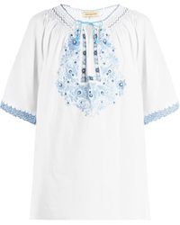 Muzungu Sisters Eva Embroidered Cotton Top - Blue
