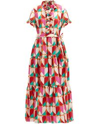 LaDoubleJ Long And Sassy Farfalle-print Silk-twill Dress - Pink