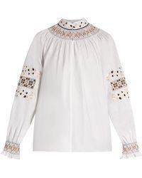 Tibi Haut en coton brodé Cora - Blanc