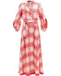 Hester Bly Orah Hibiscus-print Silk Maxi Wrap Dress - Pink