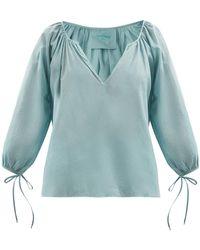 Loup Charmant Capucine Tie-cuff Organic-cotton Blouse - Blue