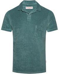 Orlebar Brown オープンカラー コットンテリー ポロシャツ - グリーン