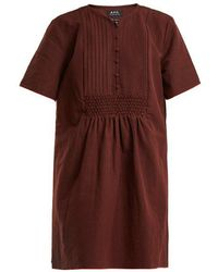 A.P.C. - Christie Smocked Linen And Cotton-blend Dress - Lyst