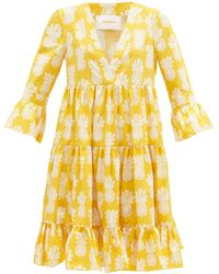 LaDoubleJ Jennifer Jane Big Pineapple-print Dress - Yellow