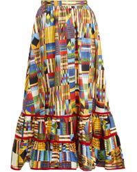 Stella Jean - Jupe midi en coton à carreaux et imprimé Ikat - Lyst