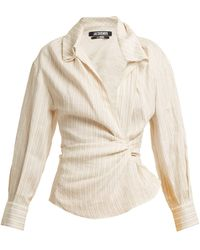 Jacquemus | Striped Twist-front Linen And Cotton-blend Shirt | Lyst