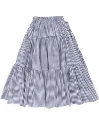 BATSHEVA Amy Tiered Gingham-cotton Midi Skirt - Blue