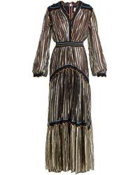 Peter Pilotto - Metallic Tiered Silk Blend Chiffon Gown - Lyst