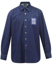 Raf Simons Logo-patch Denim Shirt - Blue