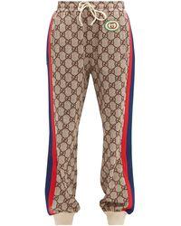 Gucci GG-print Web-stripe Track Pants - Brown