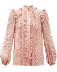 Zimmermann メイ ラッフル ポルカドットボイルシャツ - ピンク