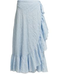Loup Charmant Ruffled Cotton Wrap Skirt - Blue