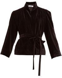 Acheval Pampa ベルテッド ベルベット シングルジャケット - ブラック