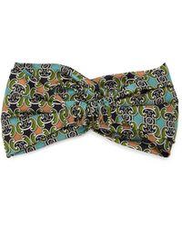 Fendi Geometric-print Silk Headband - Green